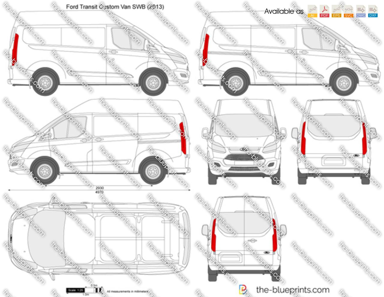 Ford Transit Custom Swb L1h2 Vector Drawing