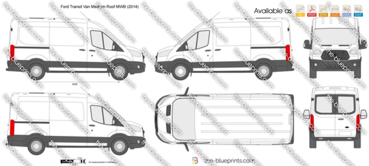 Ford Transit Van Medium Roof MWB vector drawing