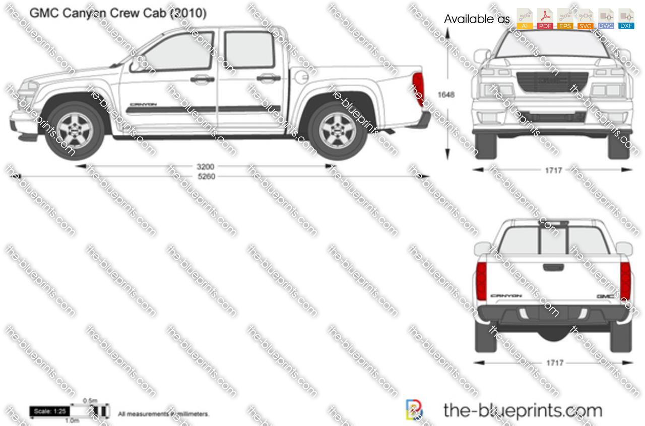 Gmc Canyon Crew Cab Vector Drawing