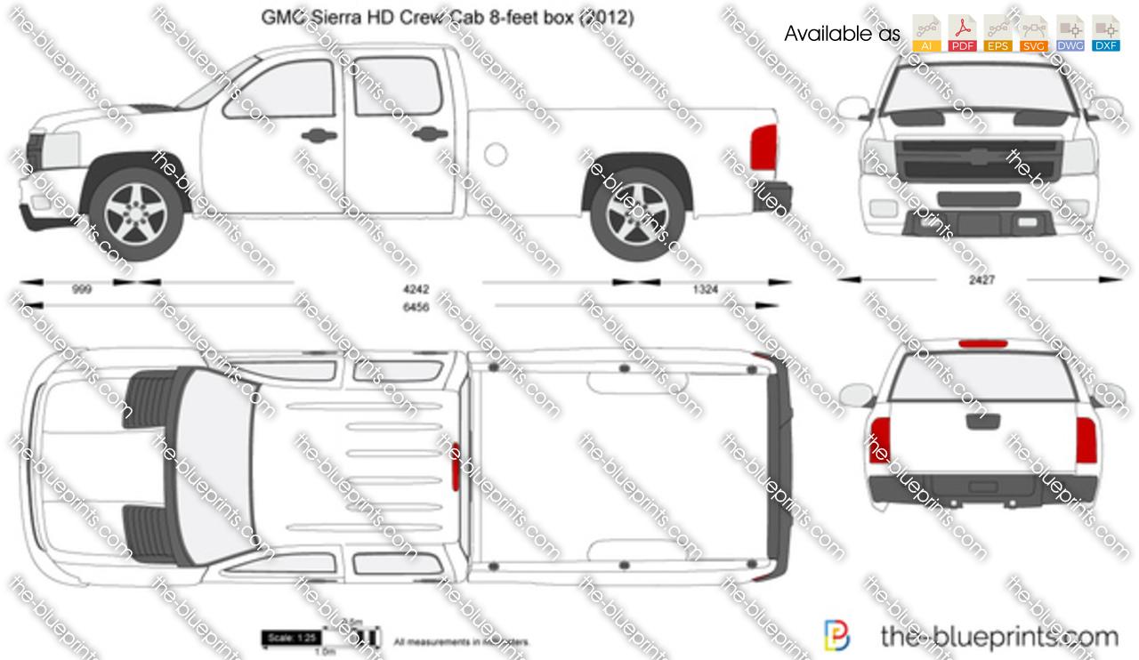 GMC Sierra HD Crew Cab 8-feet box vector drawing