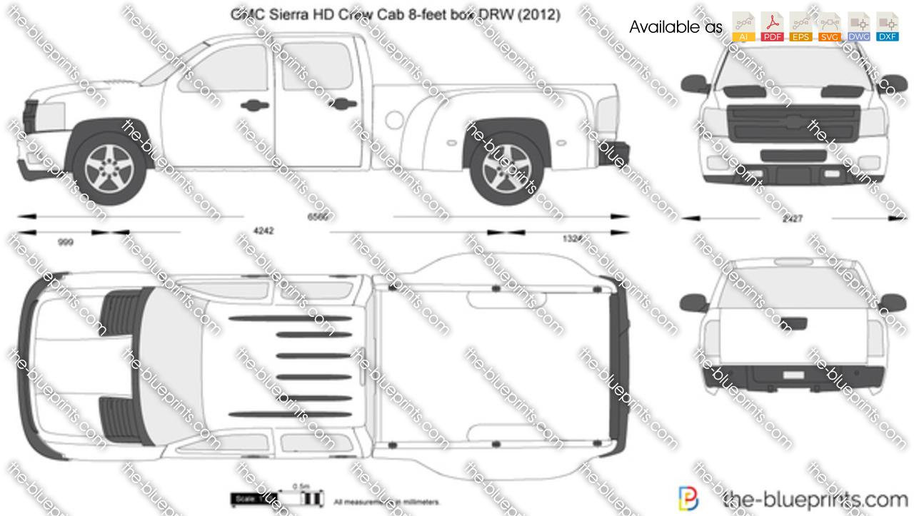 GMC Sierra HD Crew Cab 8-feet box DRW vector drawing