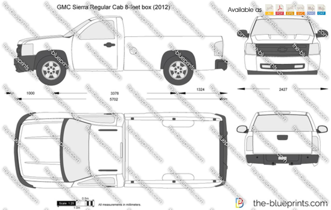 GMC Sierra Regular Cab 8-feet box vector drawing