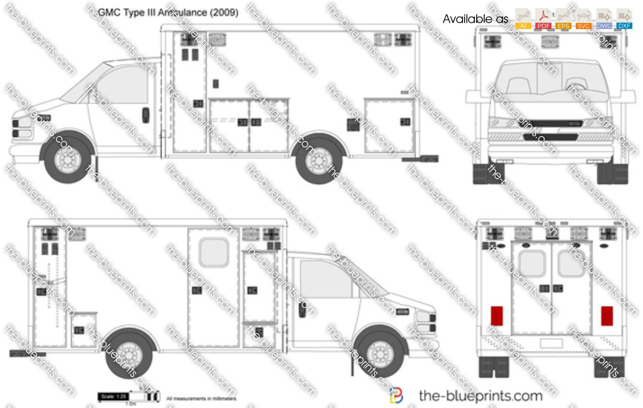 Gmc Type Iii Ambulance Vector Drawing