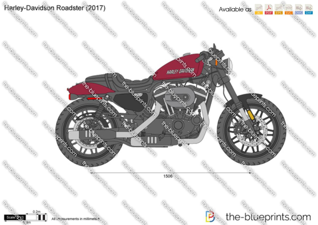 Harley Davidson Roadster Vector Drawing