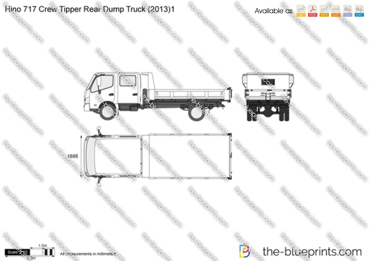 Hino 717 Crew Tipper Rear Dump Truck Vector Drawing