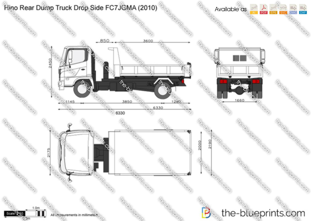 Hino Rear Dump Truck Drop Side Fc7jgma Vector Drawing