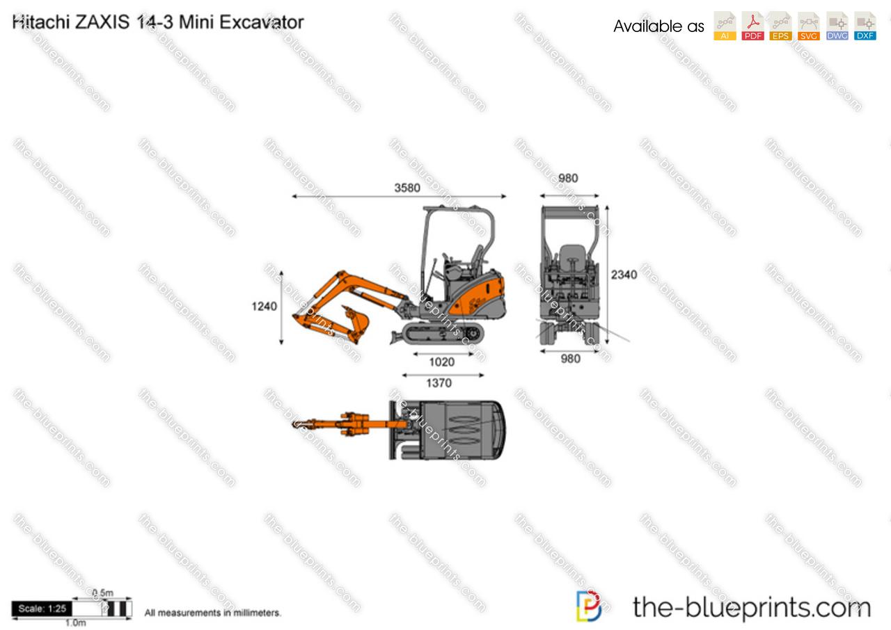 Hitachi ZAXIS 14-3 Mini Excavator vector drawing