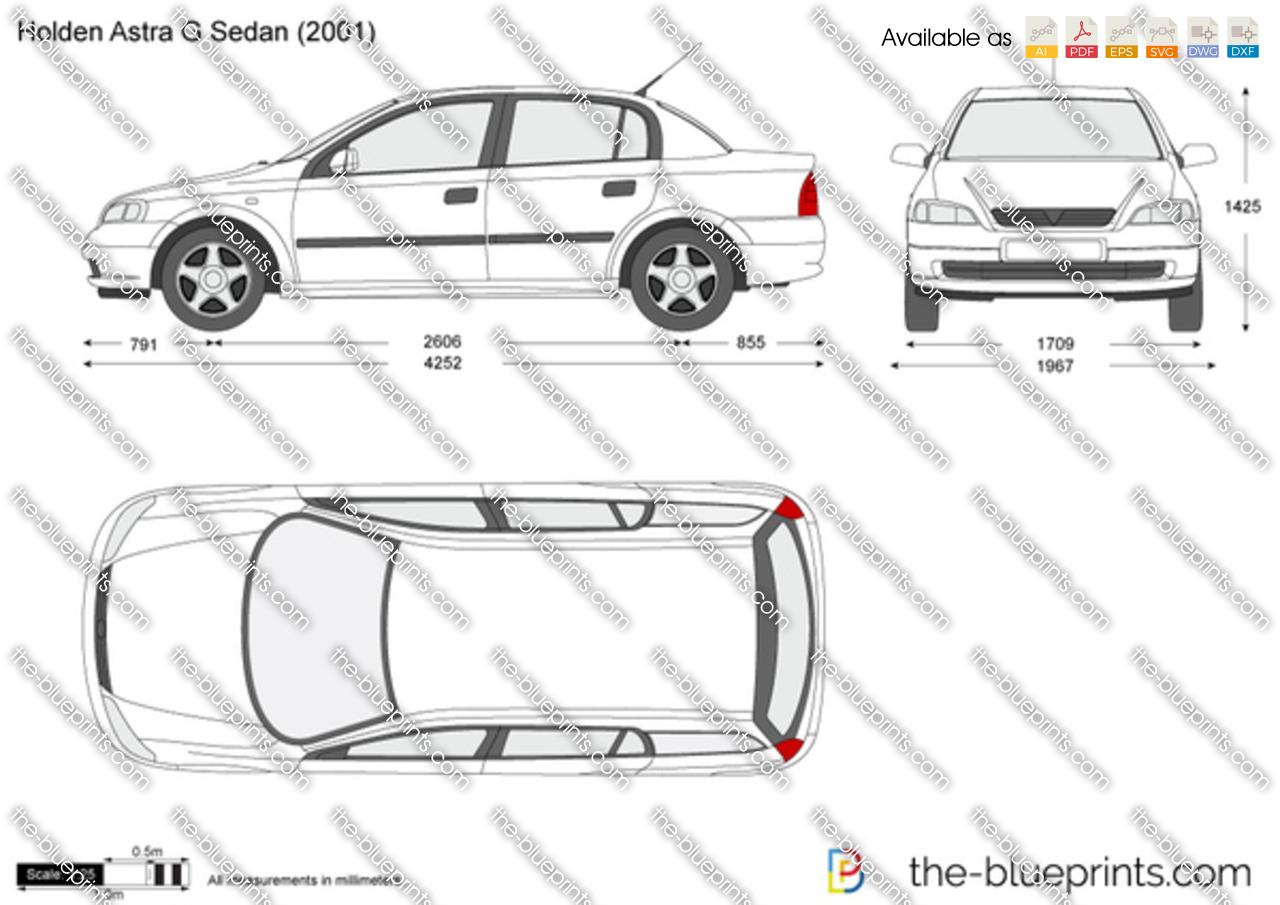 Holden Astra G Sedan vector drawing