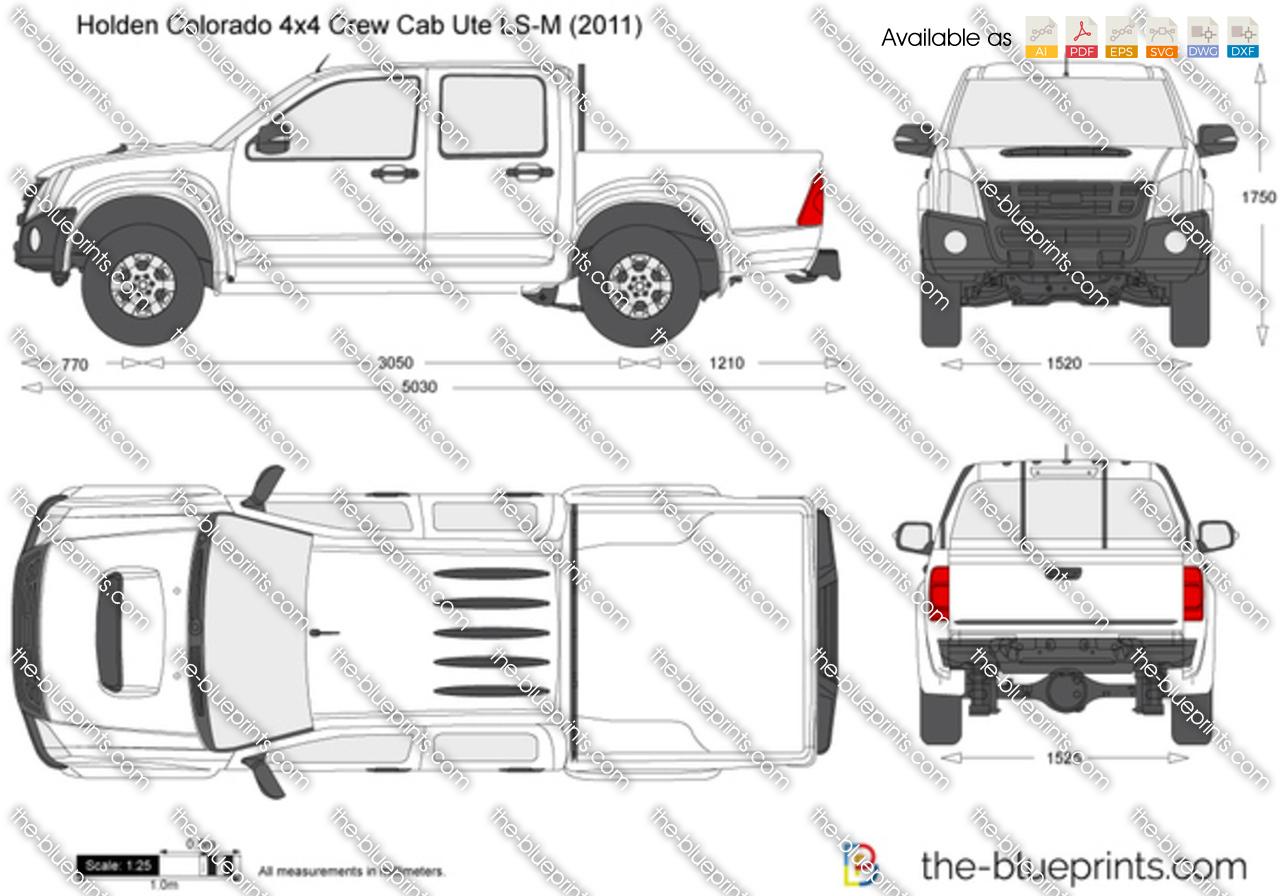 Holden Colorado 4x4 Crew Cab Ute LS-M vector drawing