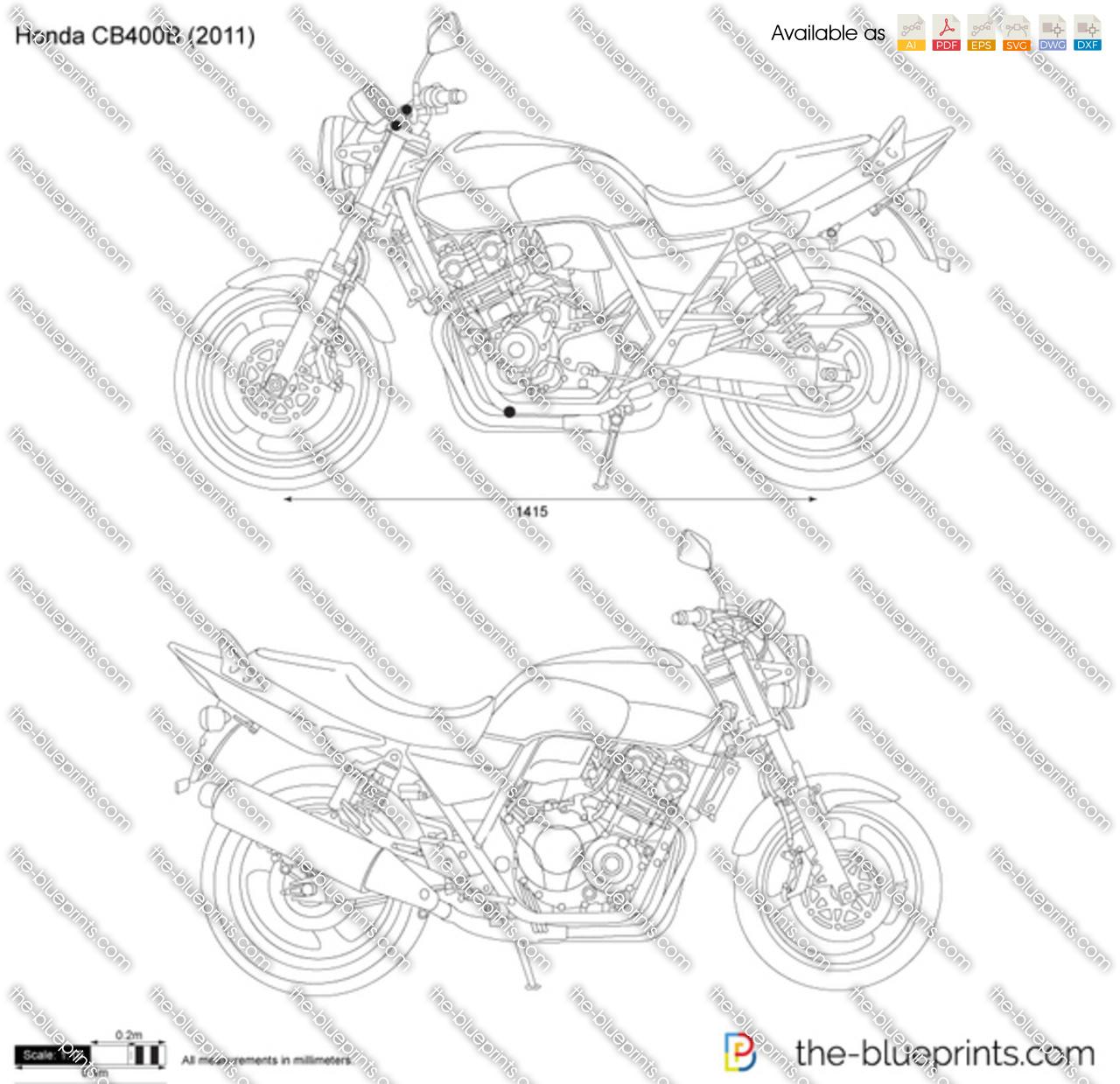 Honda Cb400b Vector Drawing