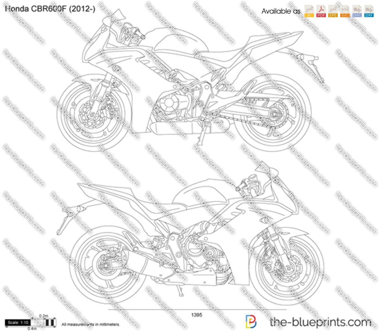 Honda CBR600F vector drawing