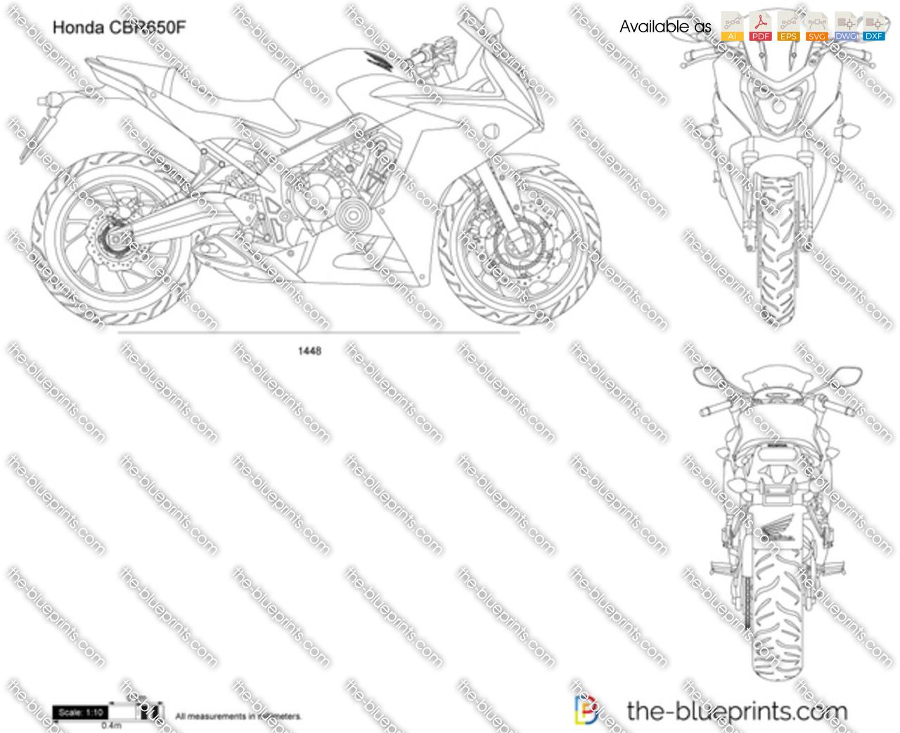 Honda CBR650F vector drawing
