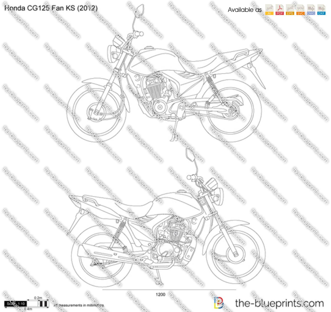 Honda CG125 Fan KS vector drawing