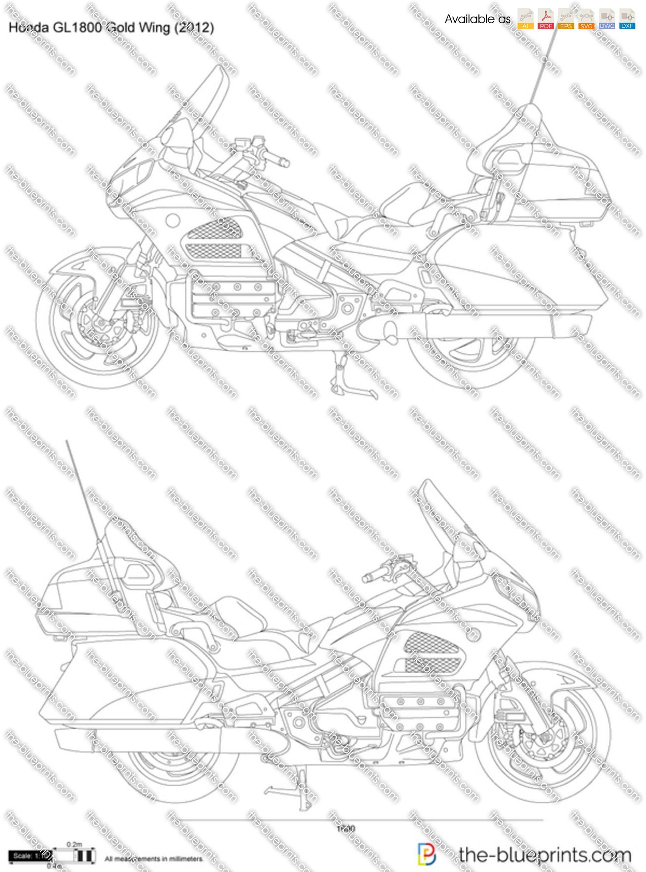 Honda GL1800 Gold Wing vector drawing
