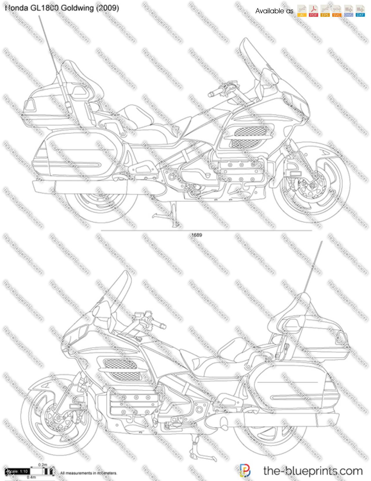 Honda GL1800 Goldwing vector drawing