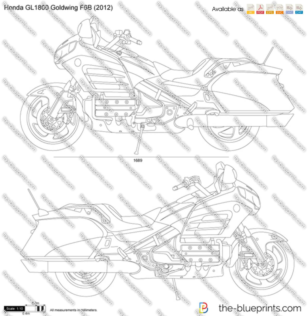 Honda GL1800 Goldwing F6B vector drawing