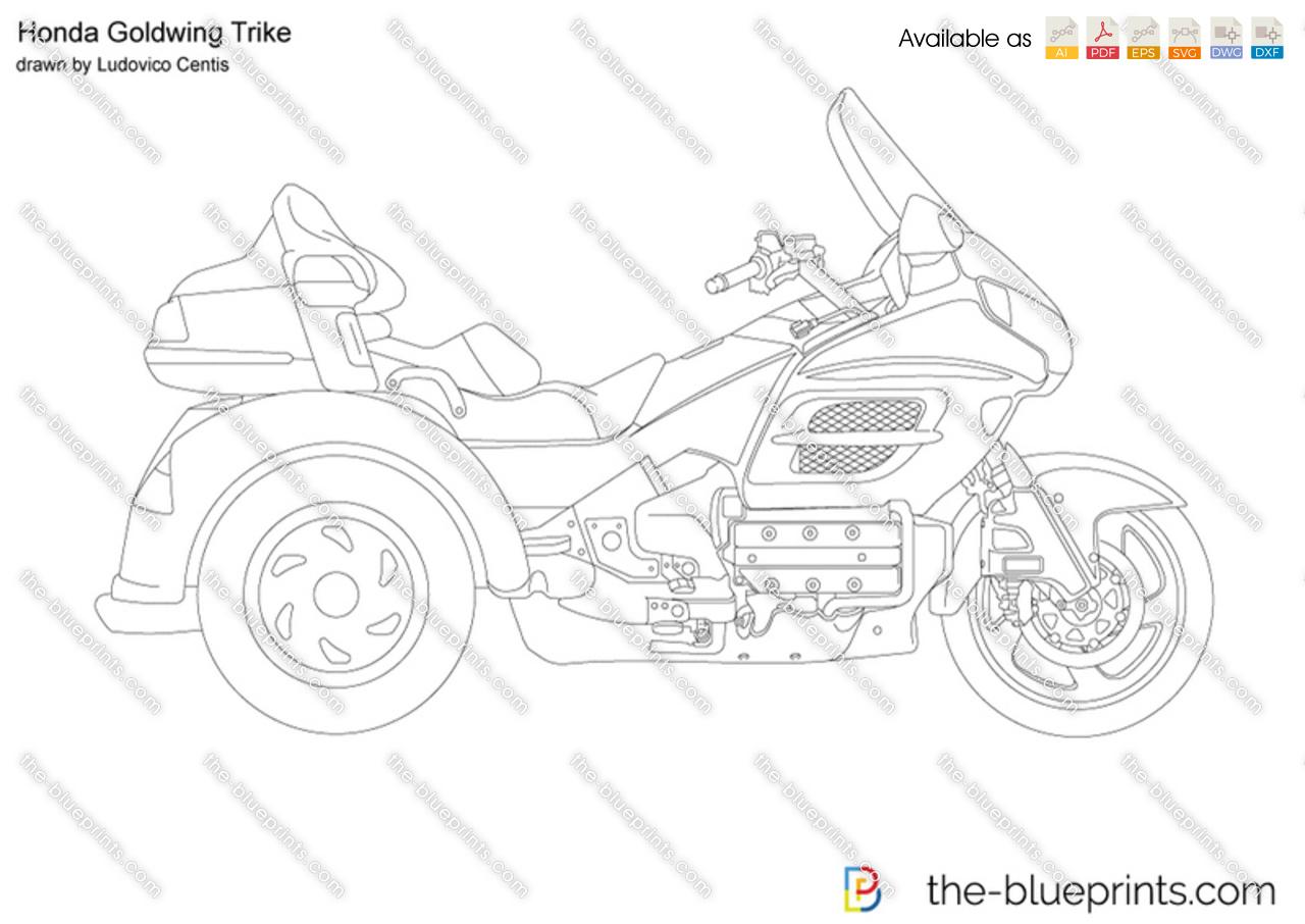 Honda Goldwing Trike vector drawing