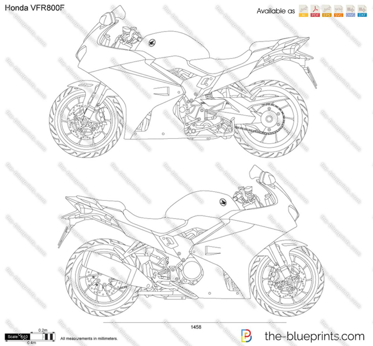 Honda Vfr800f Vector Drawing