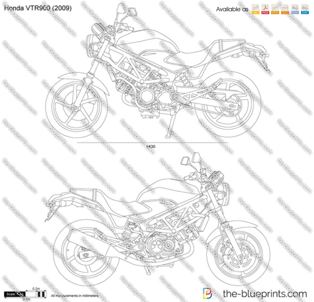 Honda VTR900 vector drawing