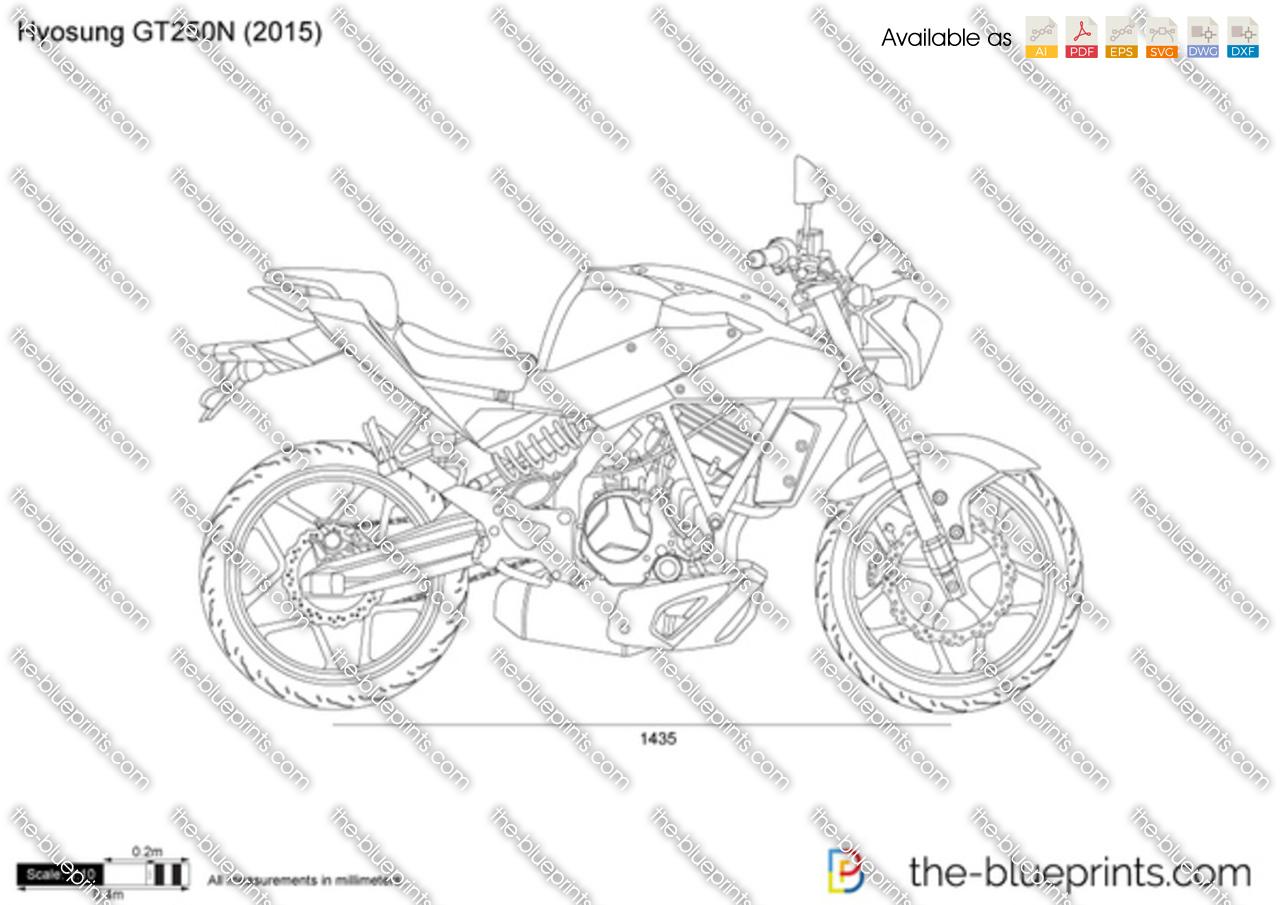 Hyosung GT250N vector drawing