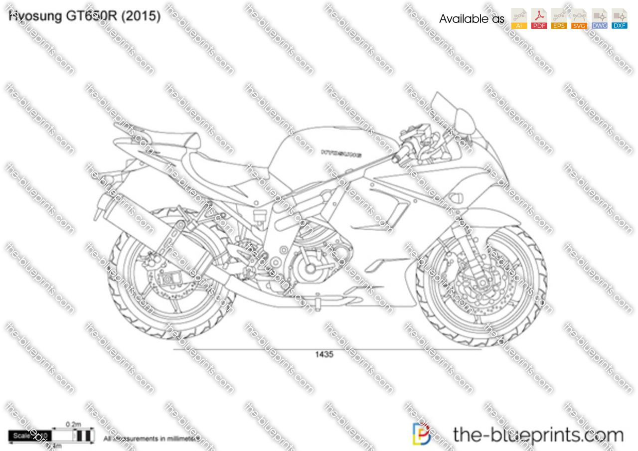 Hyosung GT650R vector drawing