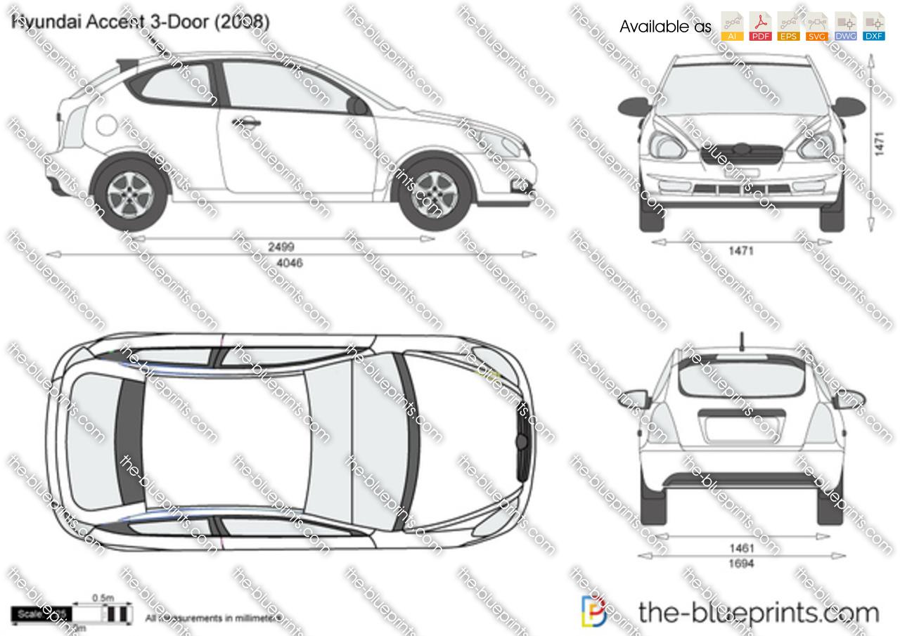 Hyundai Accent 3-Door vector drawing