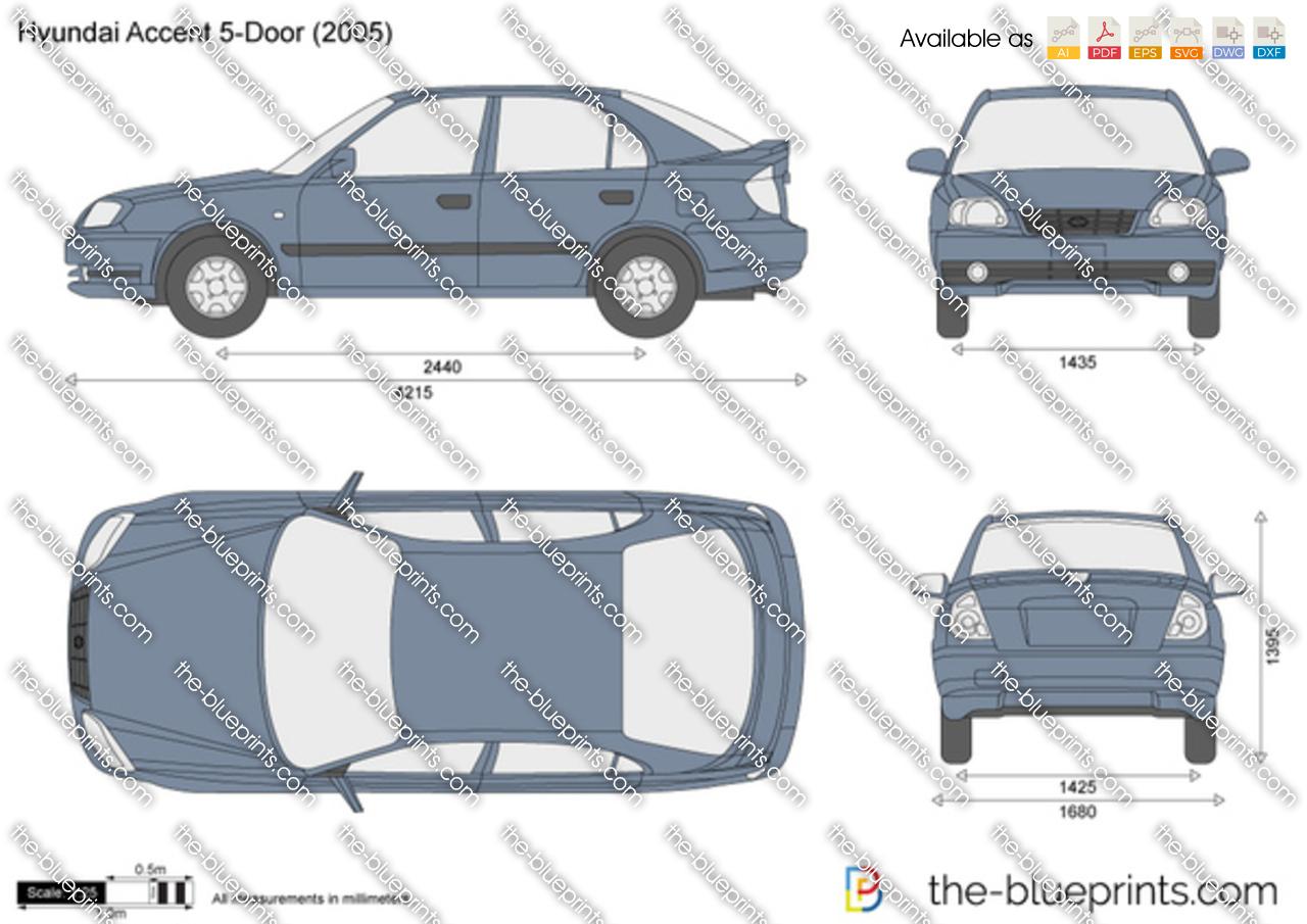 Hyundai Accent 5-Door vector drawing