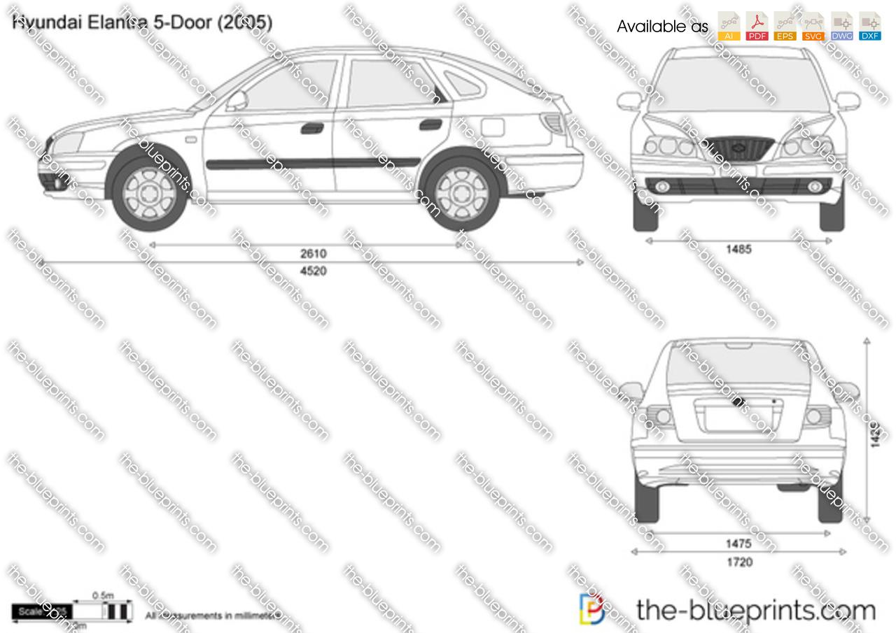 Hyundai Elantra 5-Door vector drawing
