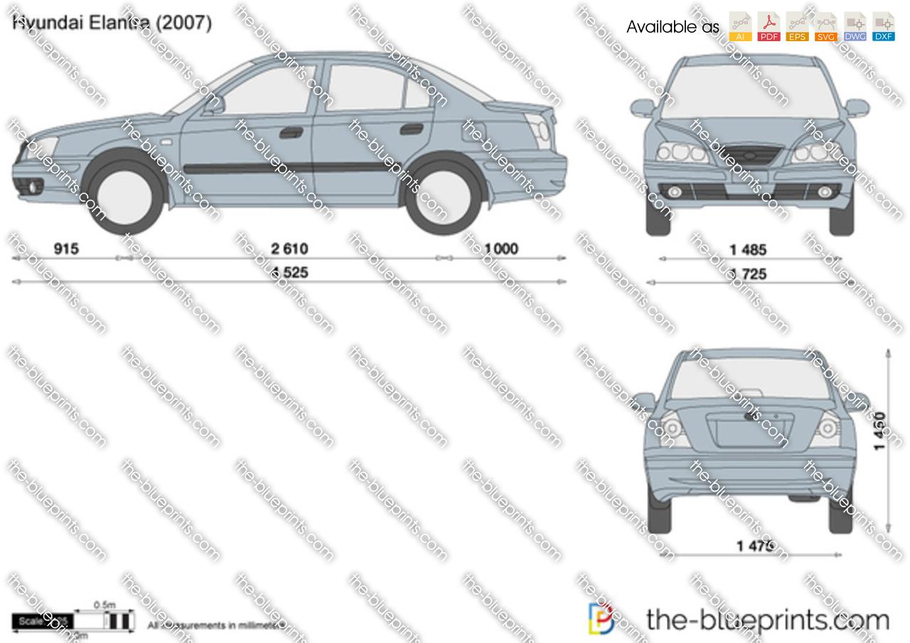 Hyundai Elantra i30 vector drawing