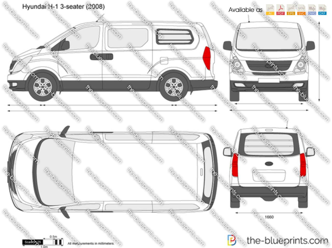Hyundai H 1 3 Seater Panel Van Vector Drawing