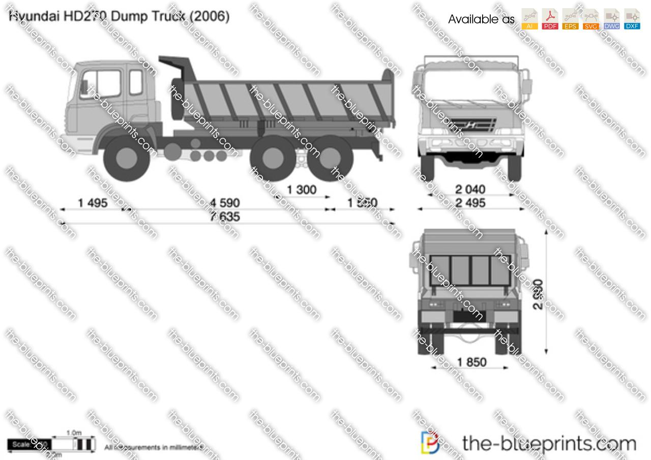 Hyundai Hd270 Dump Truck Vector Drawing