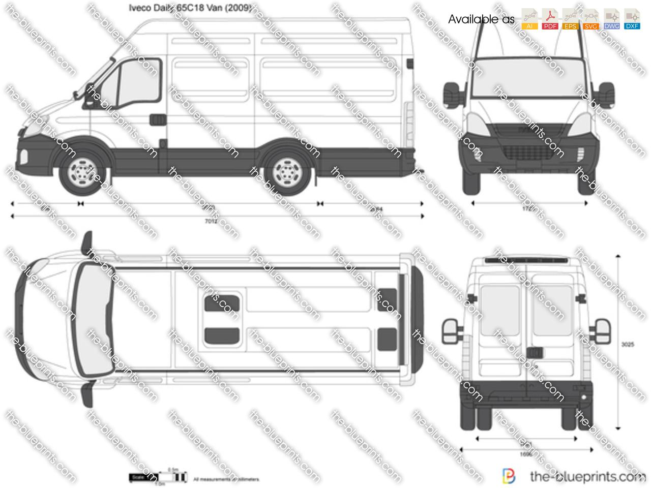 Iveco Daily 65C18 Van vector drawing