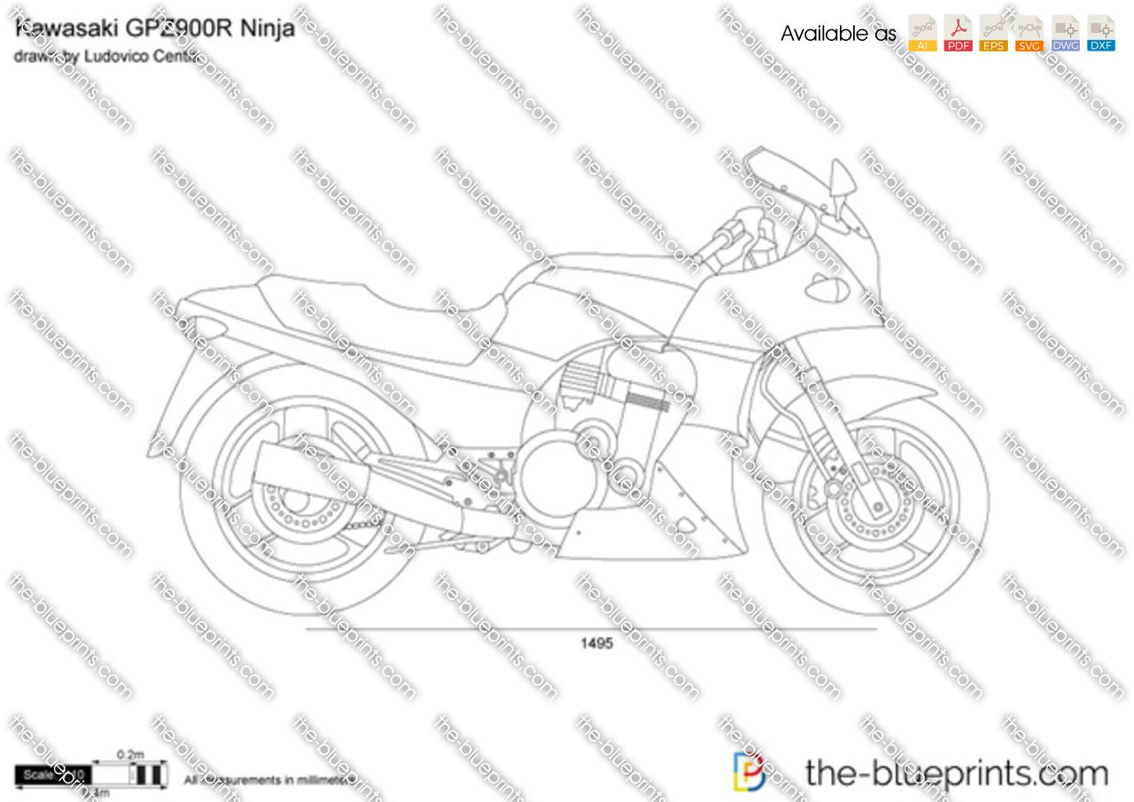 Kawasaki GPZ900R Ninja vector drawing