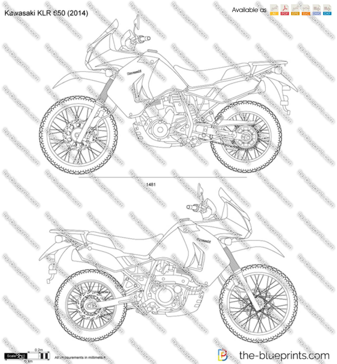 Kawasaki KLR 650 vector drawing