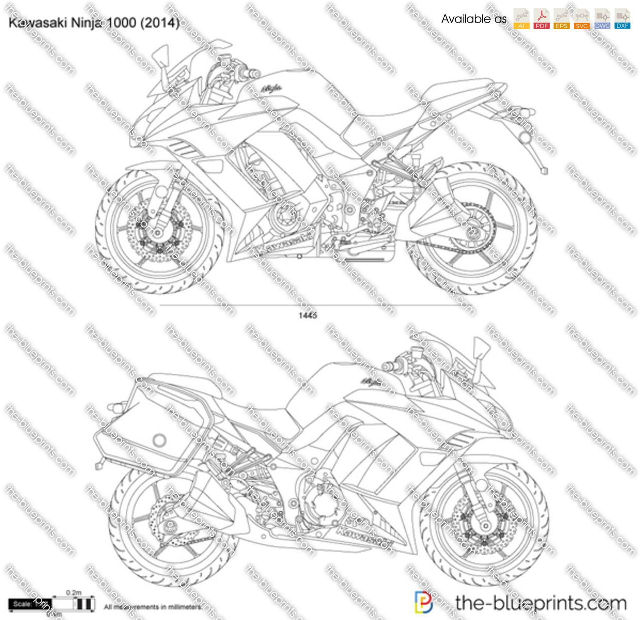 Kawasaki Ninja 1000 vector drawing