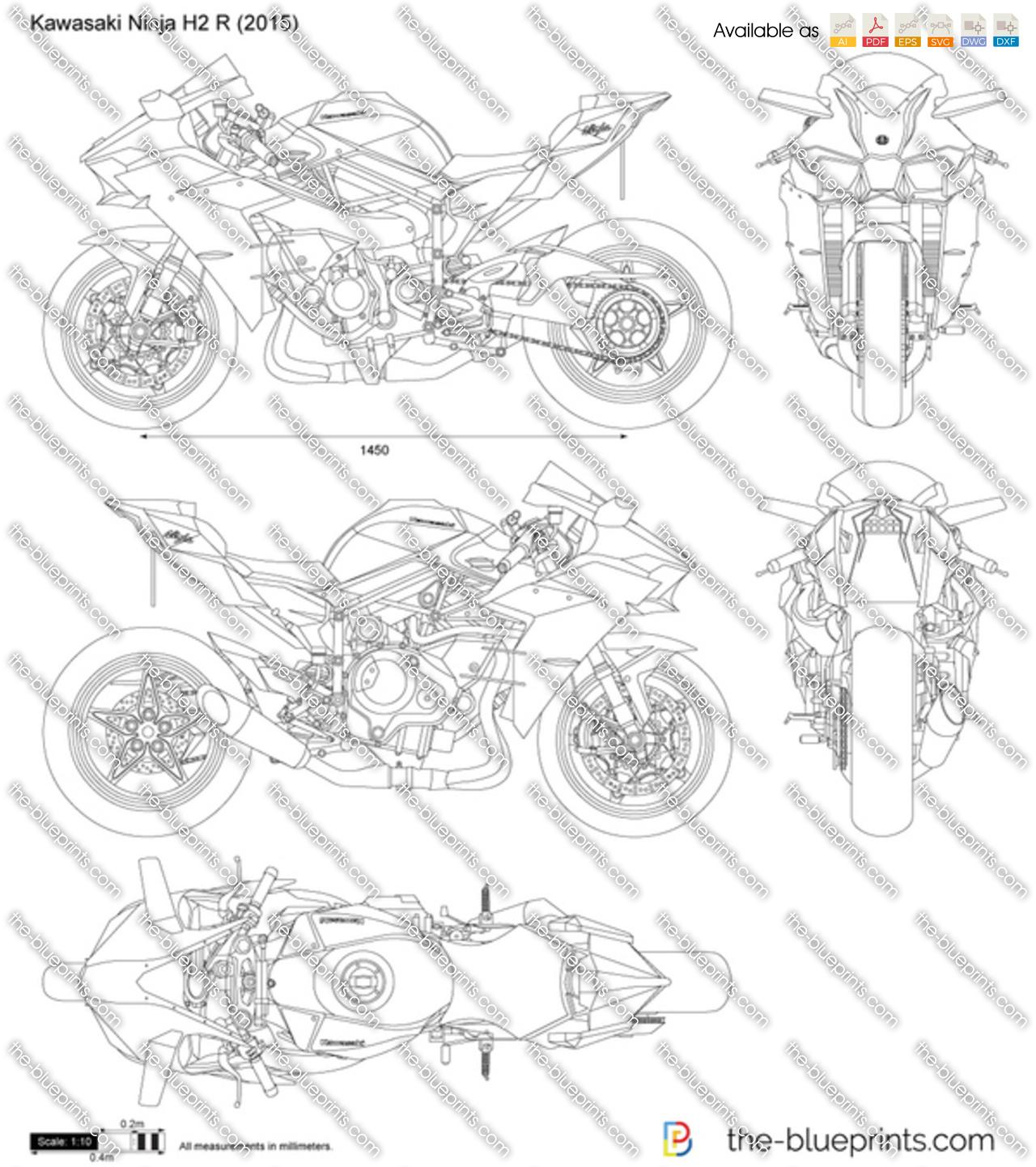Kawasaki Ninja H2 R vector drawing