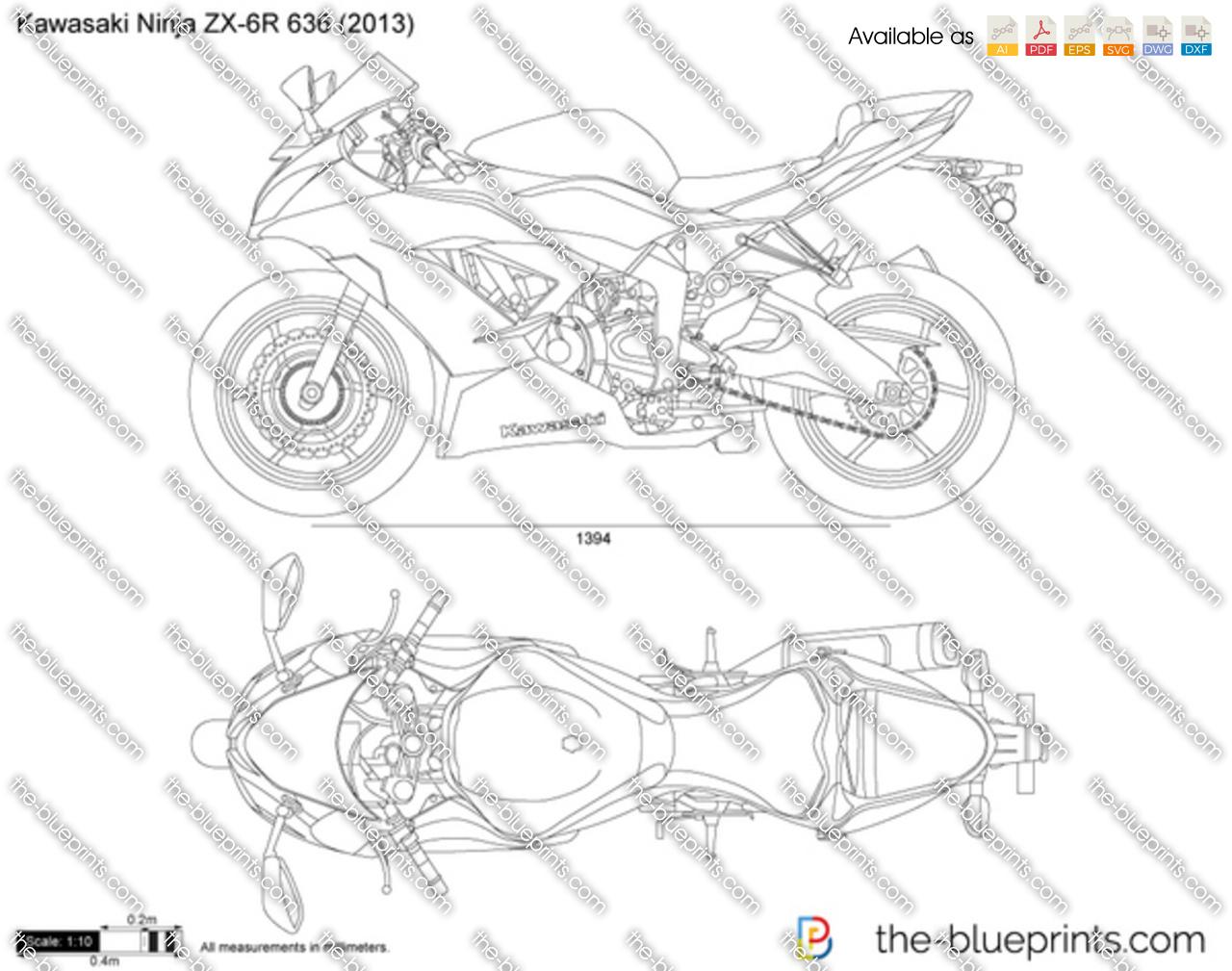 Kawasaki Ninja ZX-6R 636 vector drawing