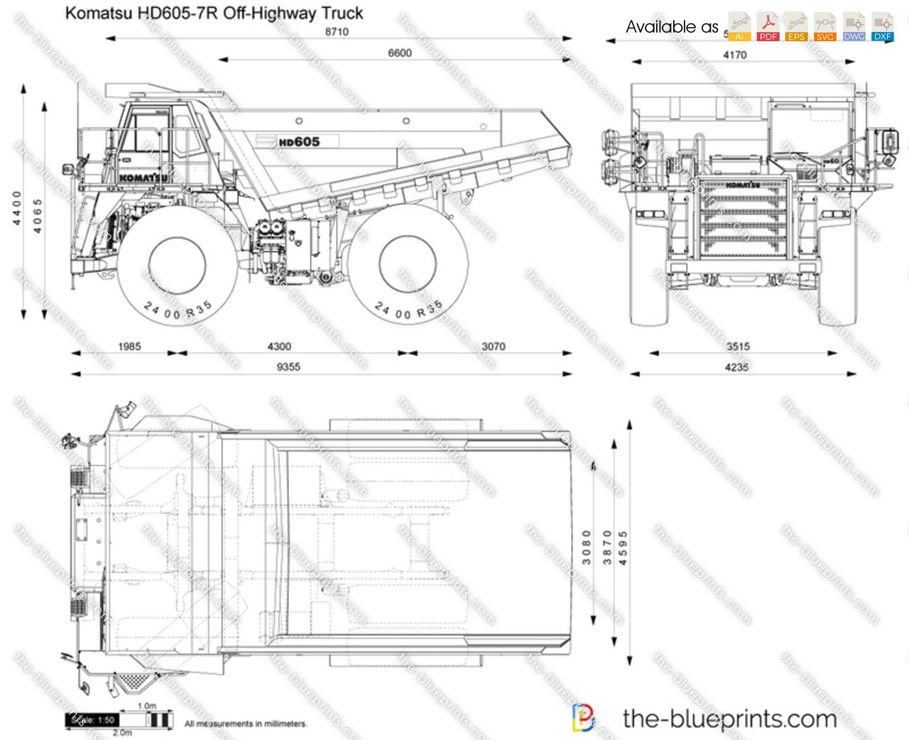 Komatsu HD605-7R Off-Highway Truck vector drawing