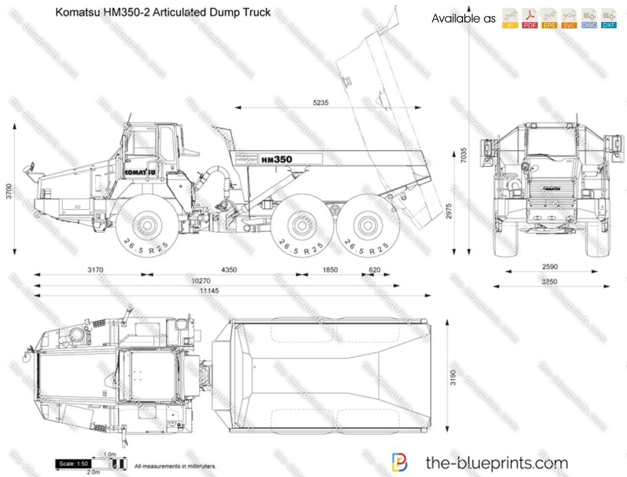 Komatsu HM350-2 Articulated Dump Truck vector drawing