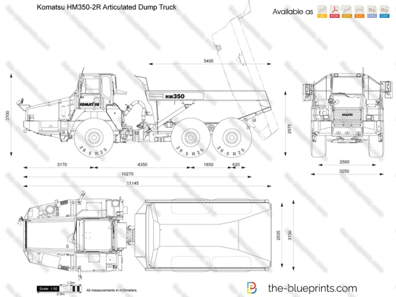 Komatsu HM350-2R Articulated Dump Truck vector drawing