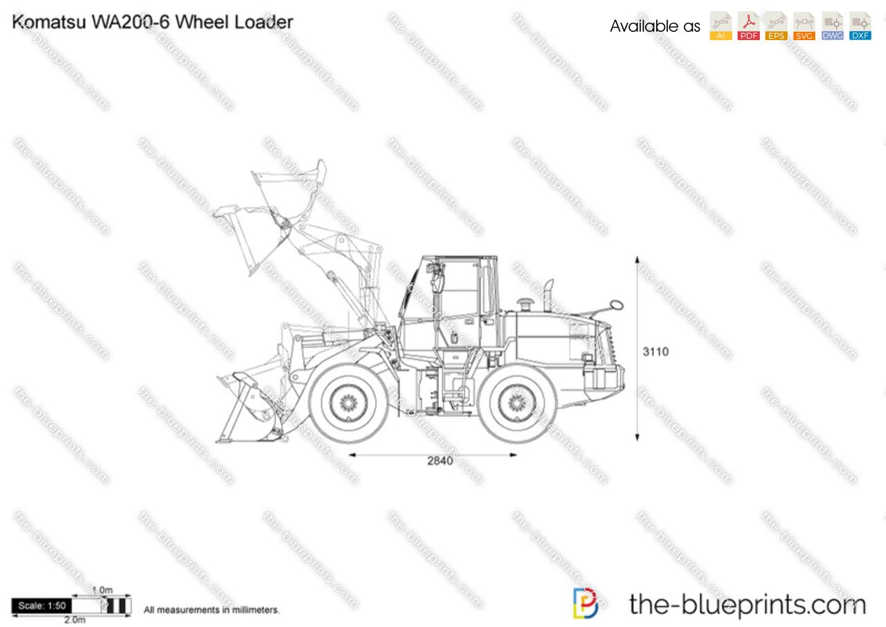 Komatsu WA200-6 Wheel Loader vector drawing