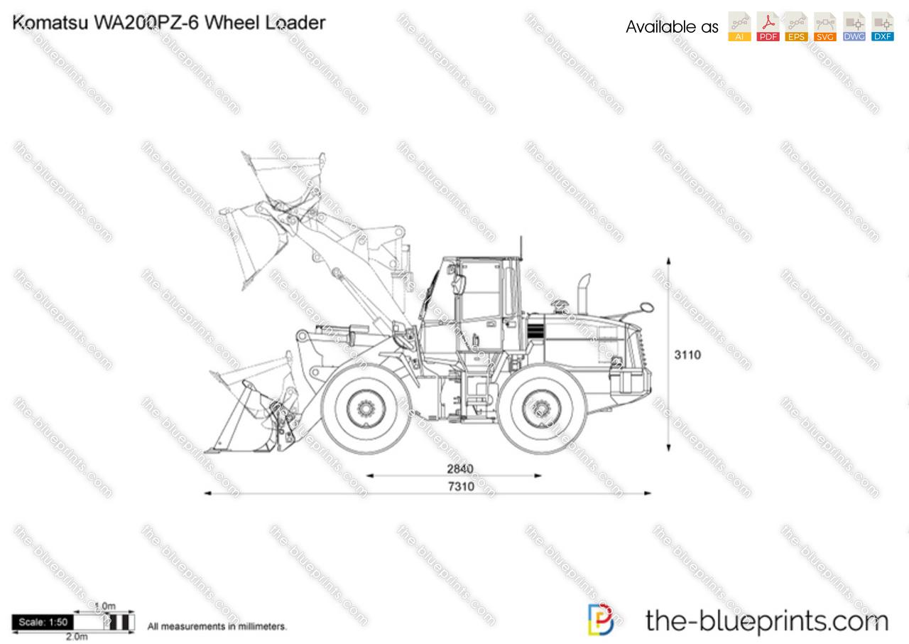 Komatsu WA200PZ-6 Wheel Loader vector drawing
