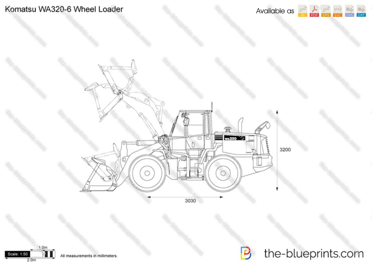 Komatsu WA320-6 Wheel Loader vector drawing