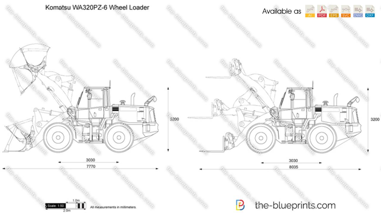Komatsu WA320PZ-6 Wheel Loader vector drawing