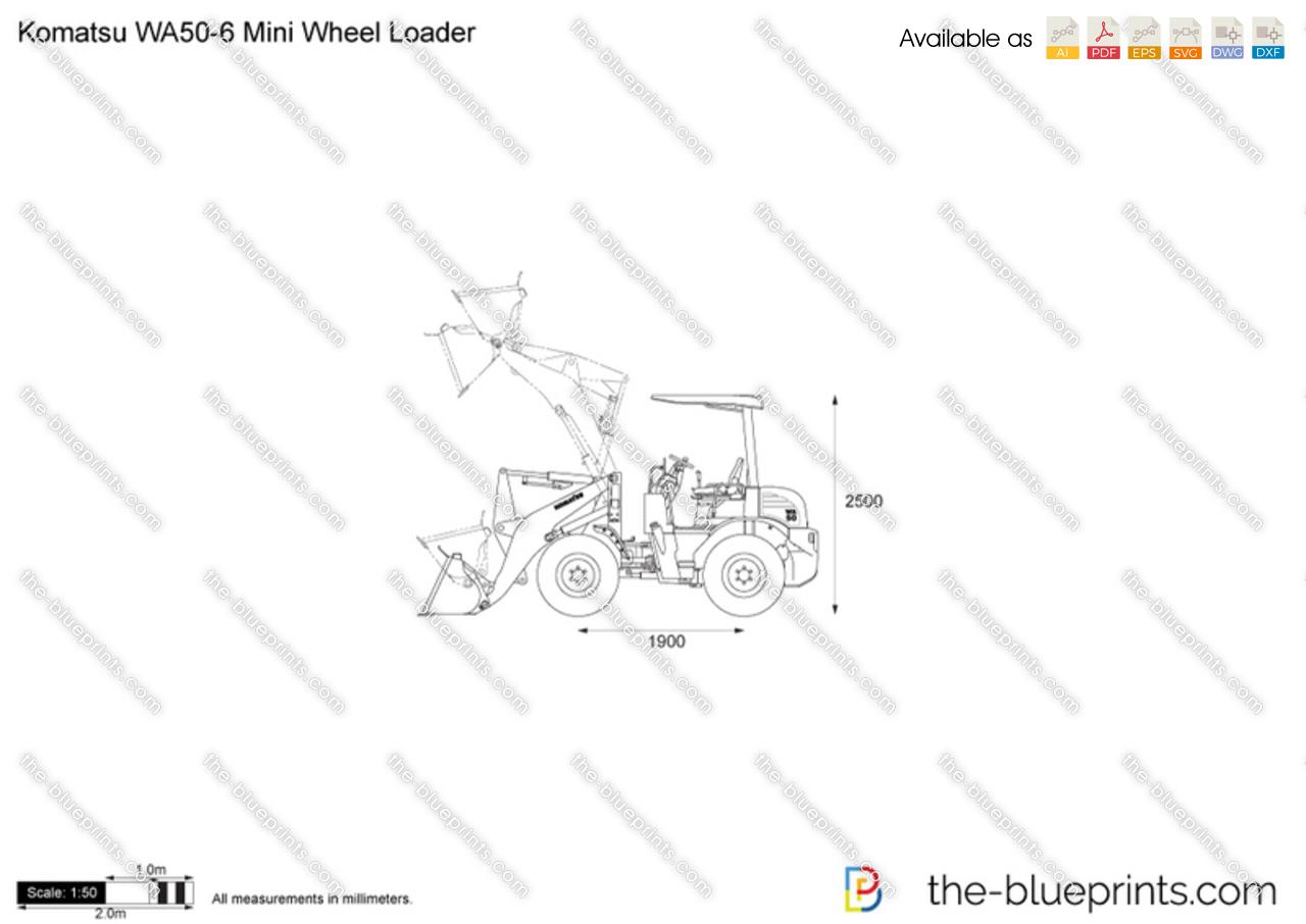 Komatsu WA50-6 Mini Wheel Loader vector drawing
