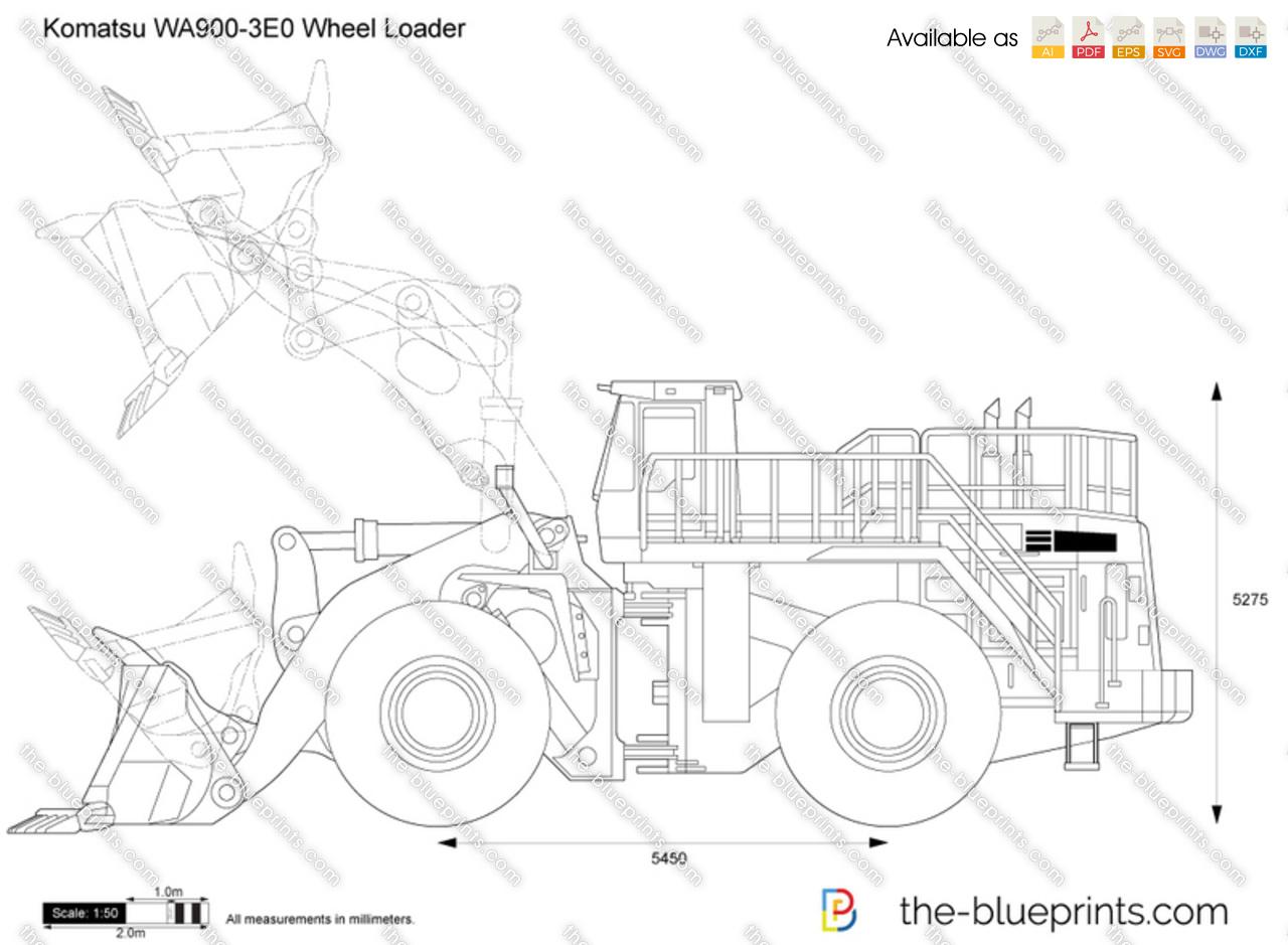 Komatsu WA900-3E0 Wheel Loader vector drawing