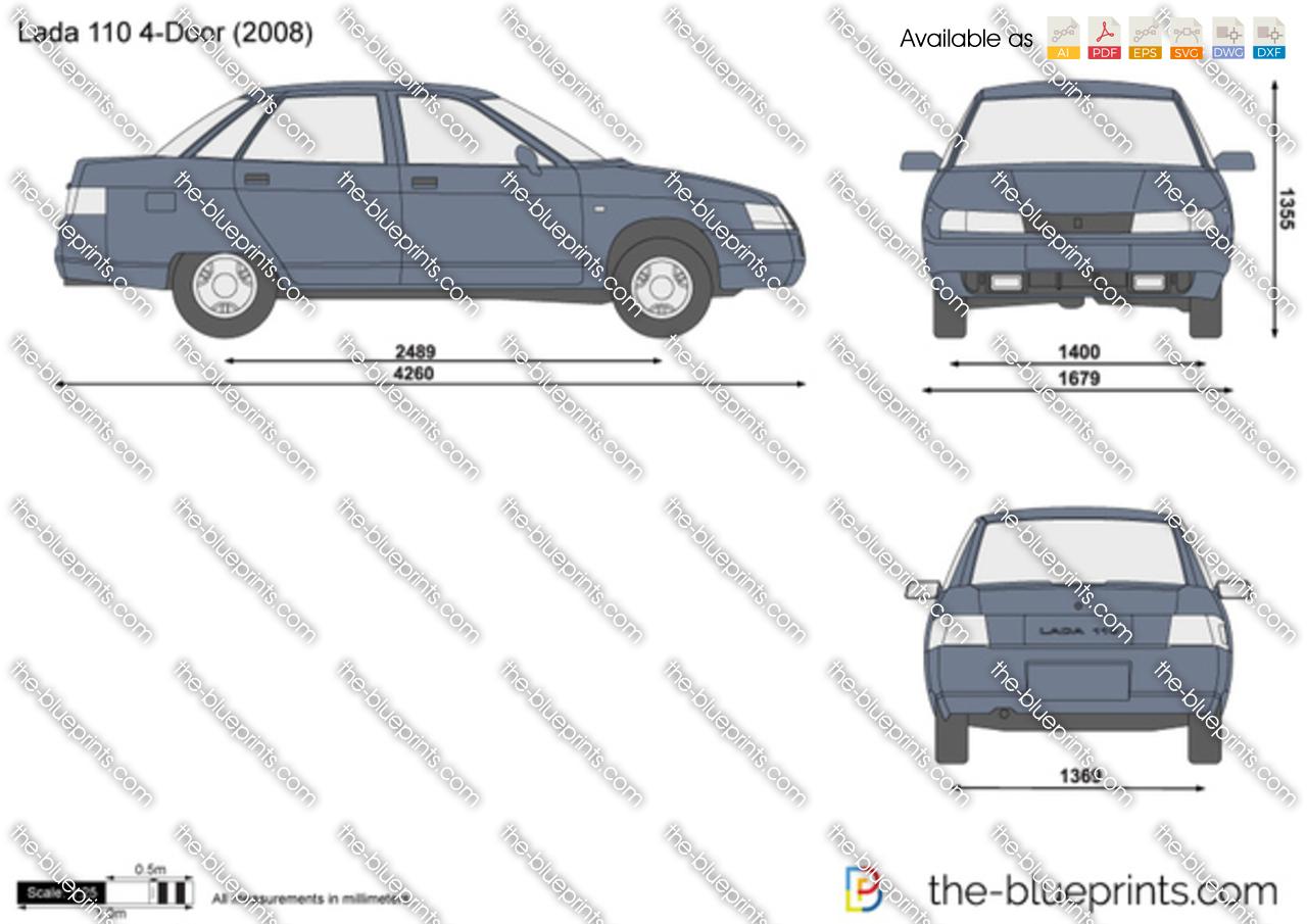 Lada 110 4 Door Vector Drawing