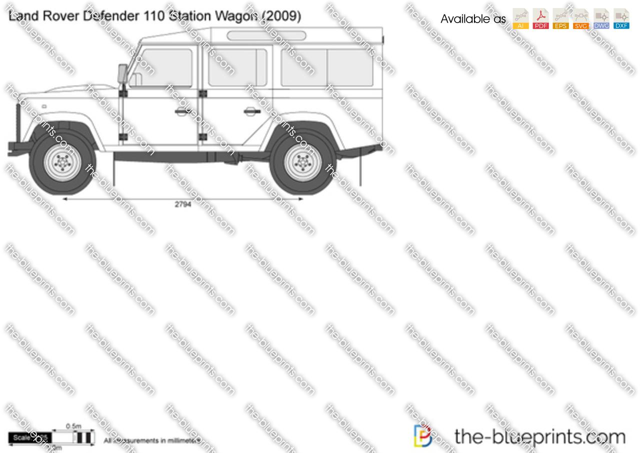 Land Rover Defender 110 Station Wagon Vector Drawing
