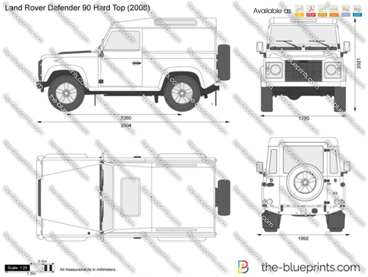 Land Rover Defender 90 Hard Top vector drawing