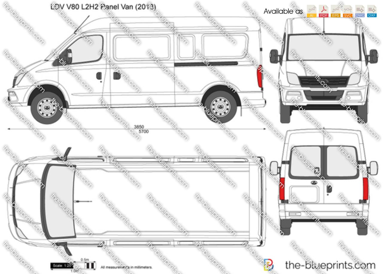 Ldv V80 L2h2 Panel Van Vector Drawing